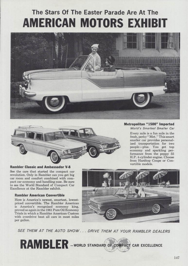 Stars of the Easter Parade Nash Metropolitan Classic Ambassador American ad 1961