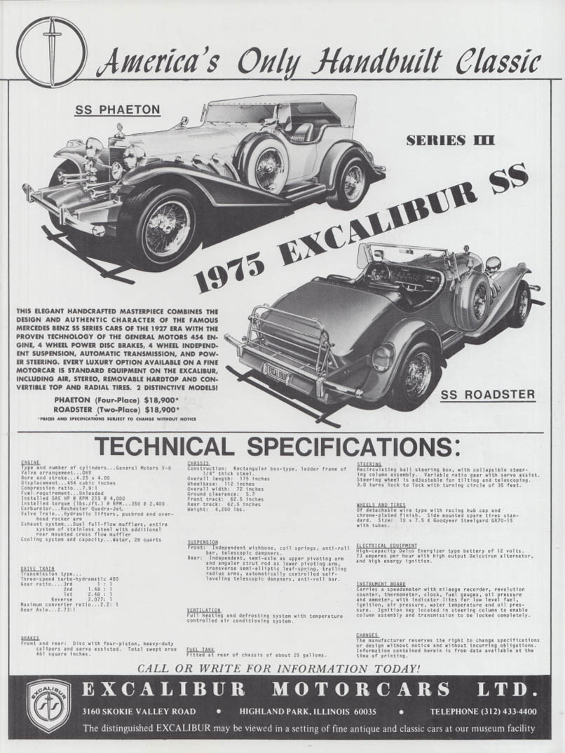 America's Only Handbuilt Classis - Excalibur SS Series III ad 1975
