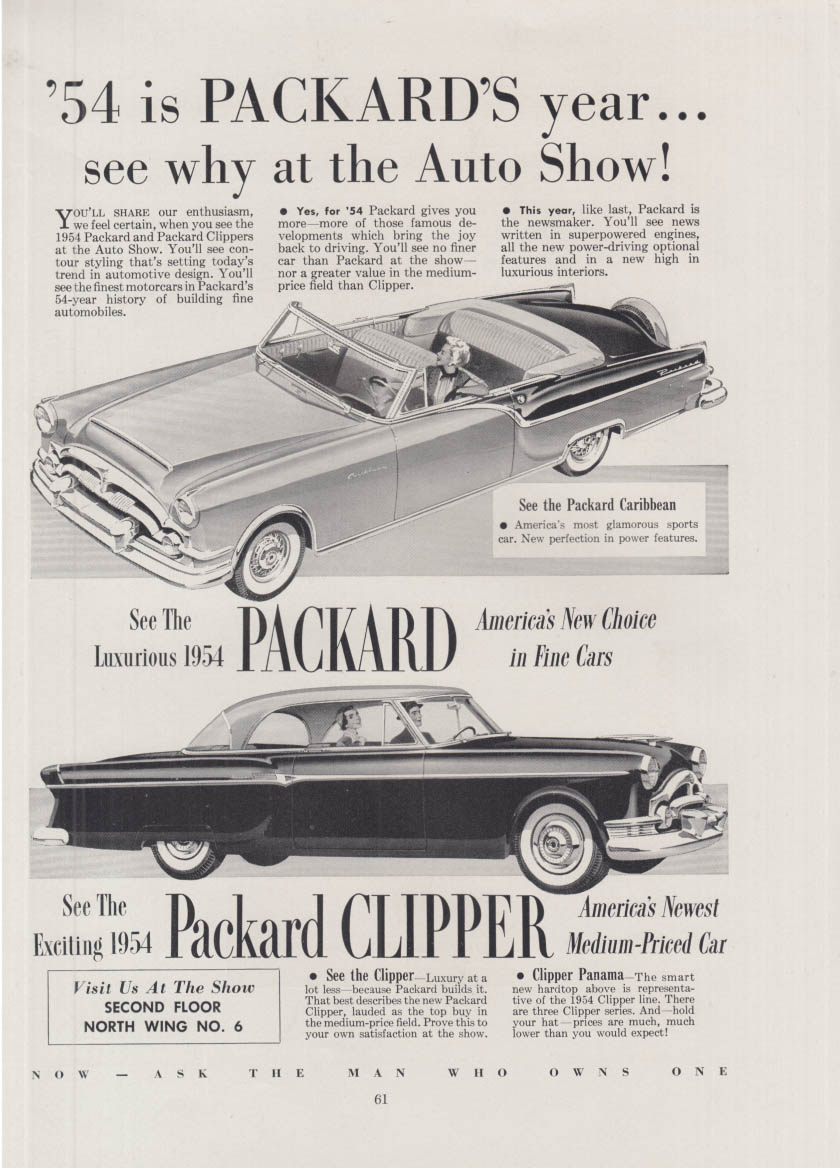 1954 is Packard's year - see why at the the Auto Show! Caribbean & Clipper ad