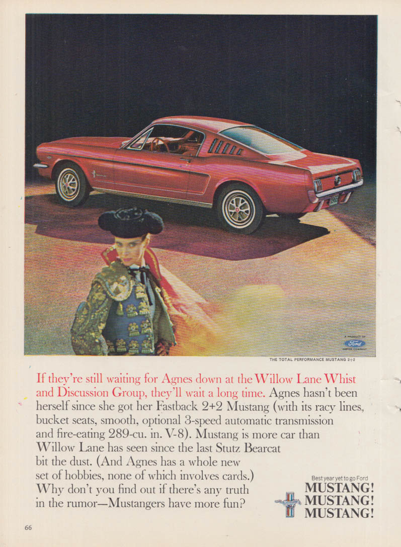 Image for If they're still waiting for Agnes - Ford Mustang 2+2 Fastback ad 1965