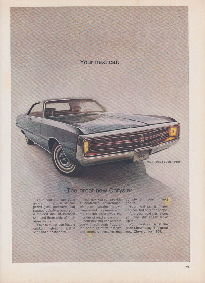Image for Your next car - The great new Chrysler 300 2-dr HT ad 1969
