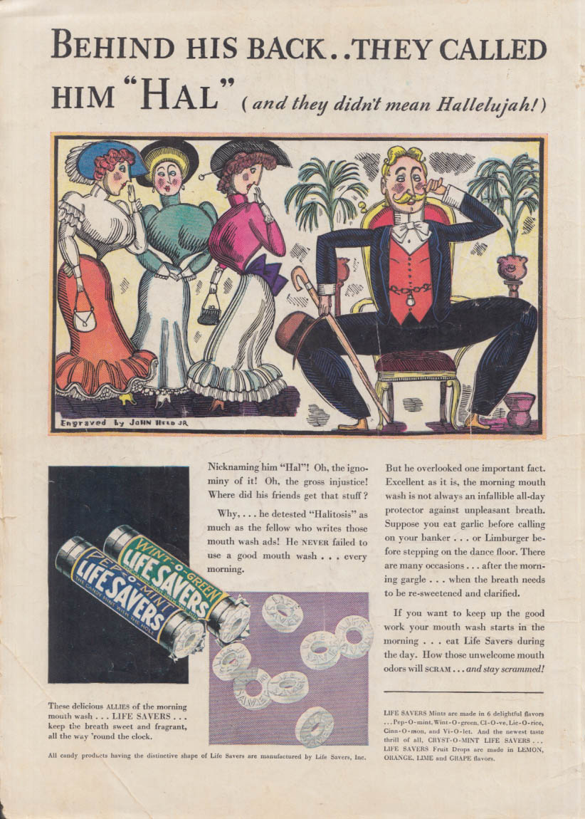 Behind his back they called him Hal- Life Savers Mints ad 1932 John Held Jr art