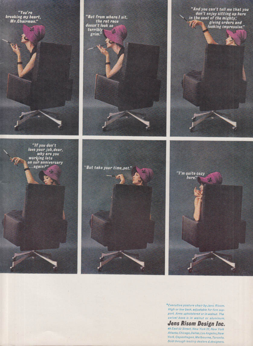 Executive Posture Chair by Jens Risom MAGAZINE AD 1961 woman executive smoking