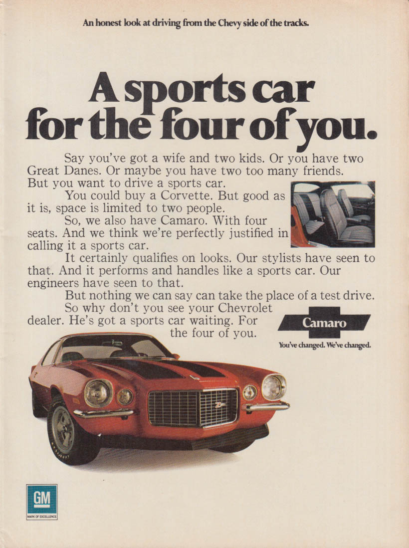 A sports car for the four of you - Camaro Z28 ad 1971 RT