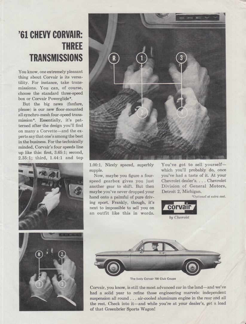 Chevrolet Corvair - Three Transmissions ad 1961