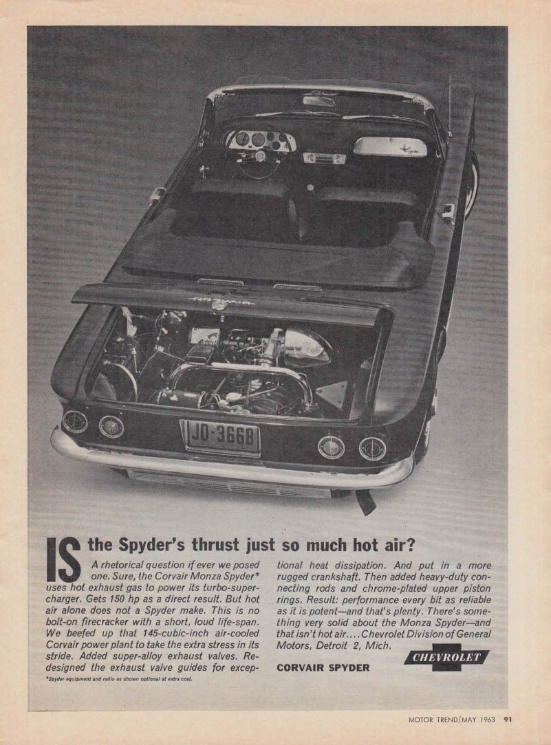 Is the Spyder's thrust just so much hot air? Chevrolet Corvair Monza ad 1963