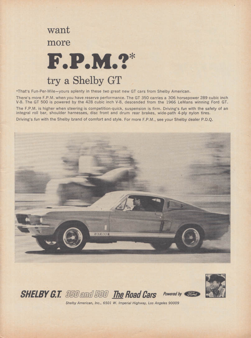 Image for Want more FPM [Fun-per-Mile]? Try a Shelby GT 500 ad 1967