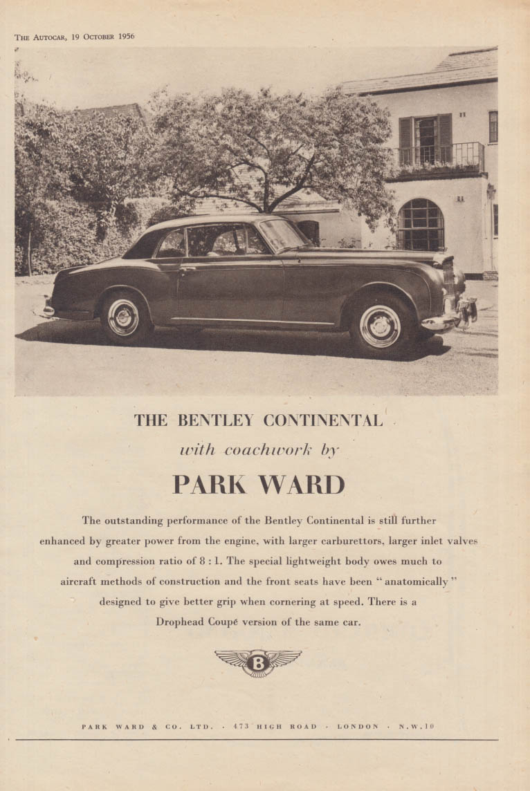 Image for The Bentley Continental with coachwork by Park Ward ad 1956 1957