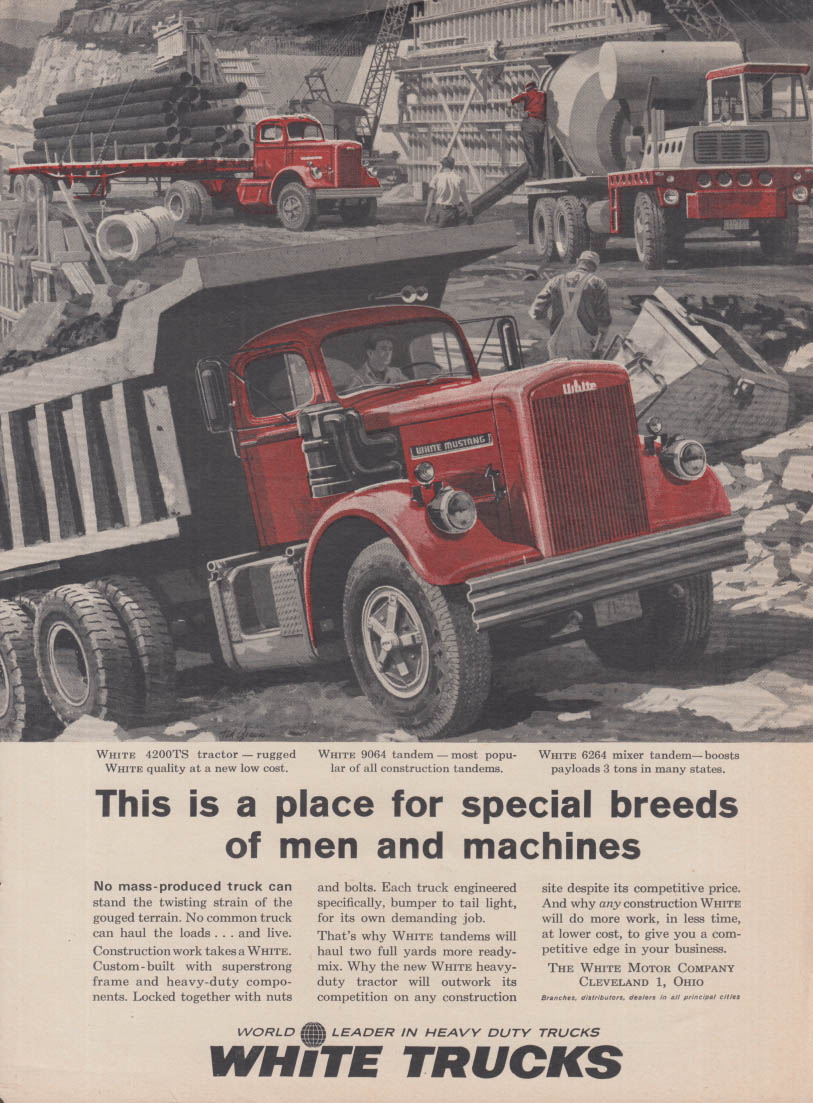 For special breeds of men & machines White 9064 Tandem Dump Truck ad 1961