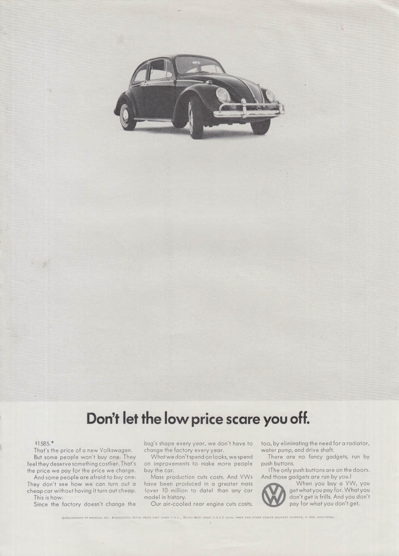 Don't let the low price scare you off Volkswagen Beetle ad 1966 NY