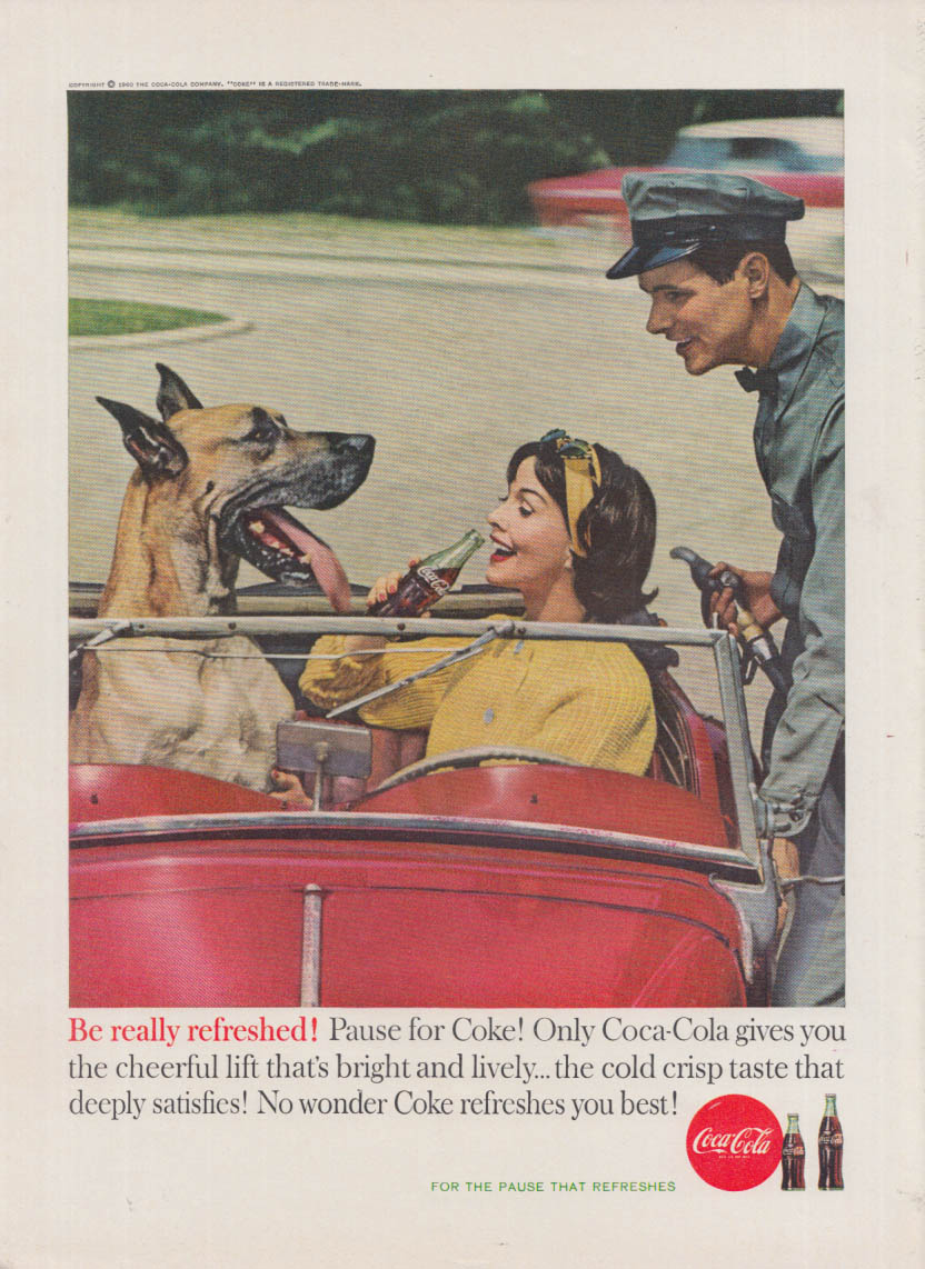 Be really refreshed! Coca-Cola ad 1960 Great Dane, MG-TD, gas station