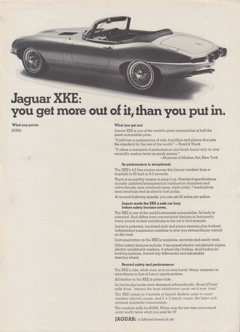 You get more out of it than you put in - Jaguar XKE ad 1967 XK-E NY