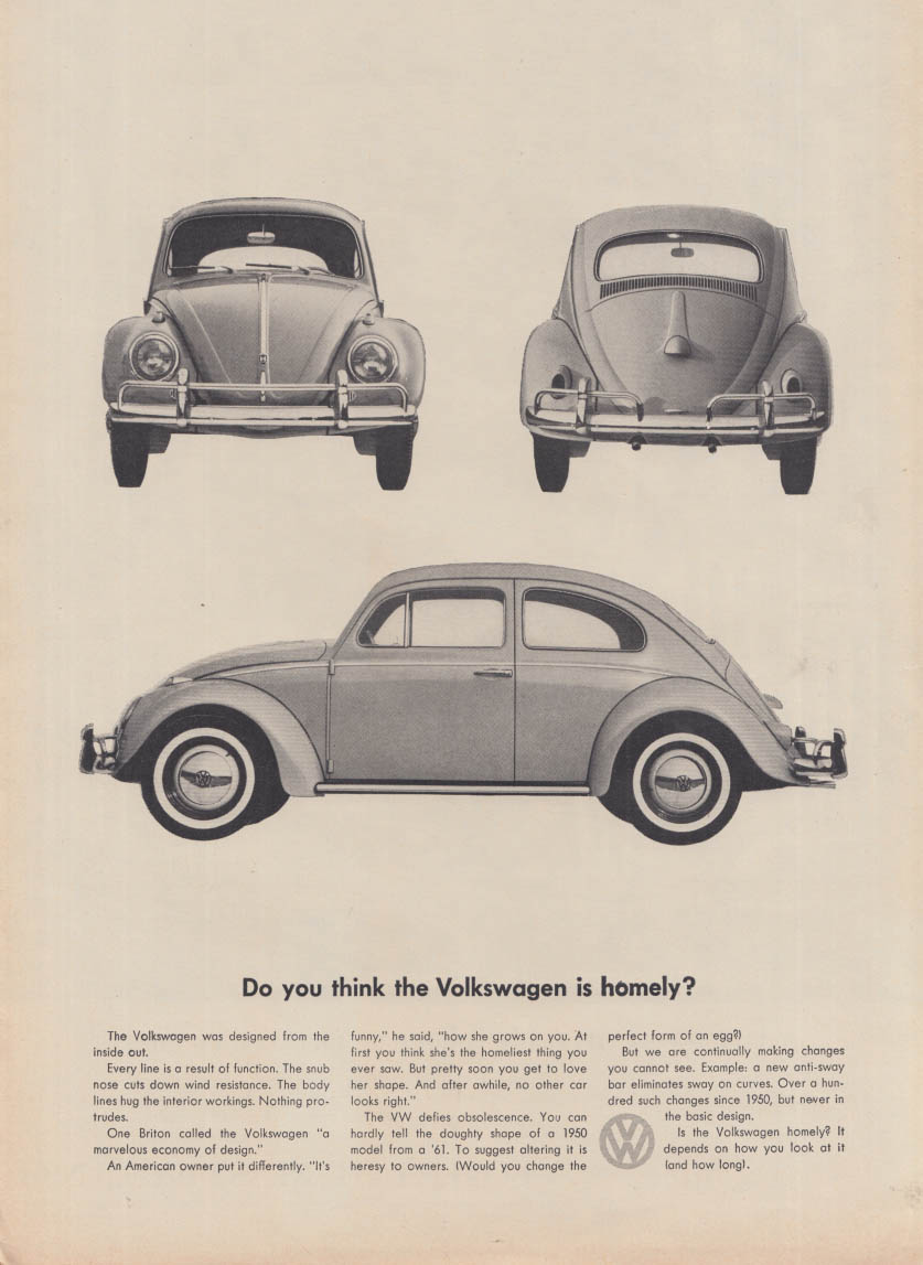 Do you think the Volkswagen is homely? Ad 1960 NY