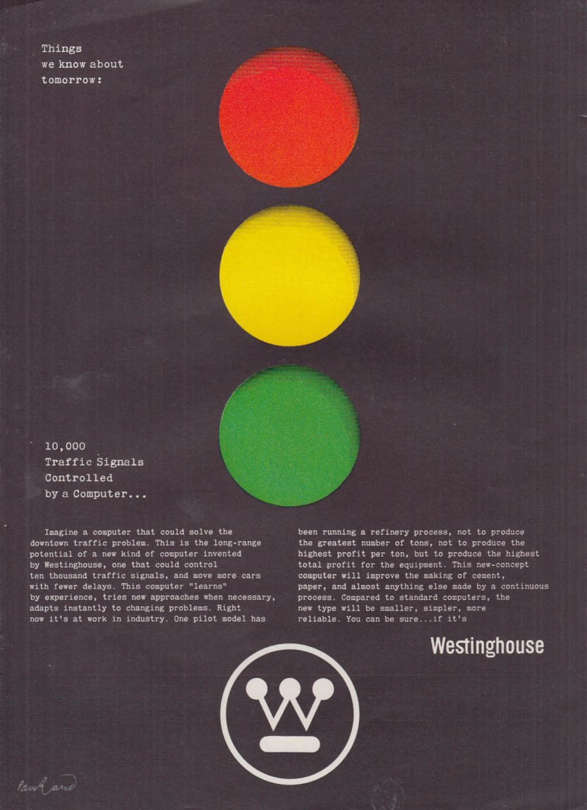 10,000 traffic signals controlled by a computer Westinghouse ad 1960 Paul Rand