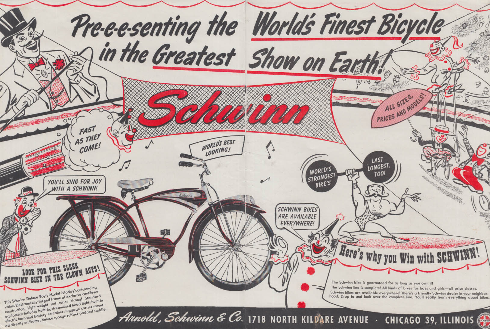 World's Greatest Bicycle Show on Earth! Schwinn Deluxe Boy's Model ad 1952