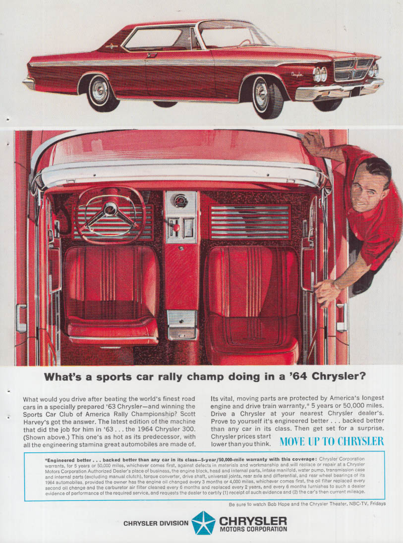Image for What's a sports car rally champ doing in a Chrysler 300? Ad 1964