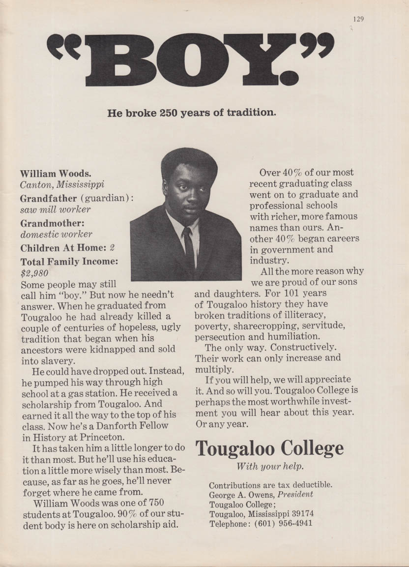 """Boy"" He broke 250 years of tradition Tougaloo College ad 1971"
