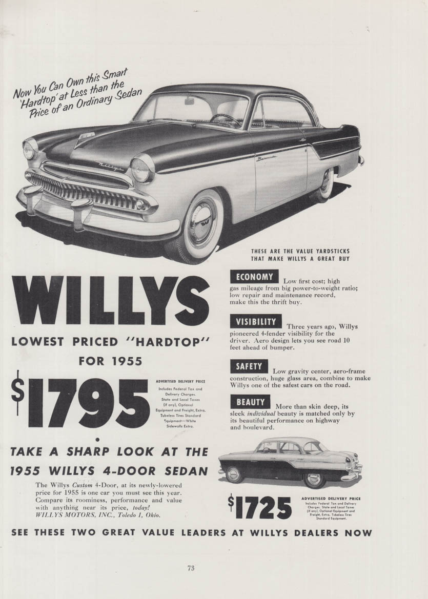 Image for Lowest priced hardtop $1795 Willys Bermuda ad 1955