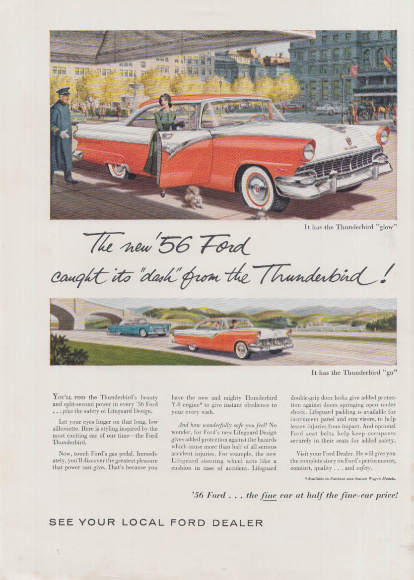 Image for The new Ford caught its dash from the Thunderbird ad 1956