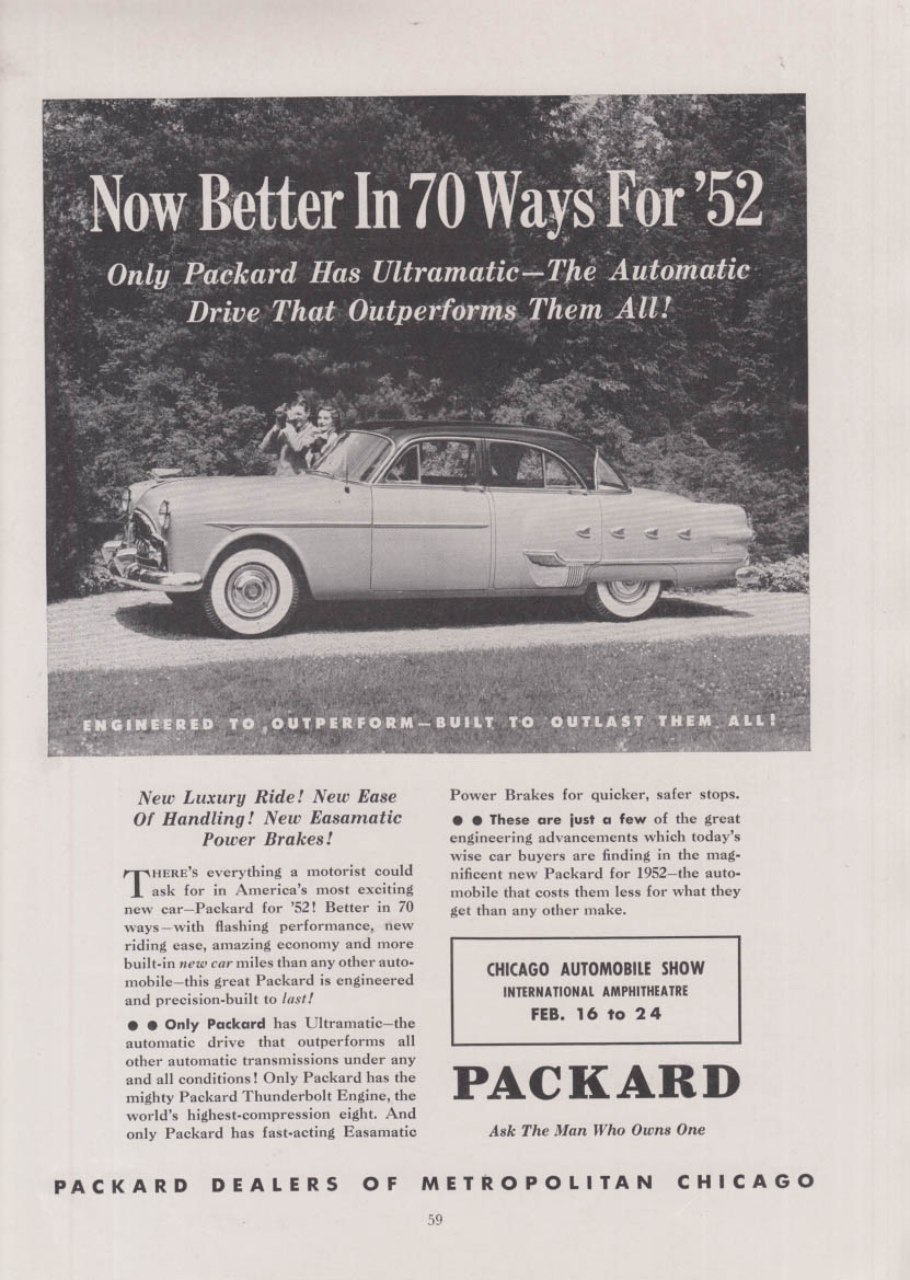 Now Better In 70 Ways for 1952 Packard 4-door Sedan ad Chicago Auto Show