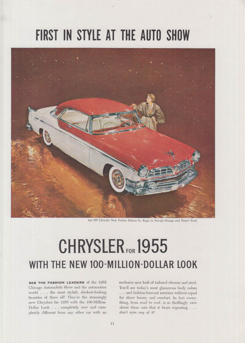 Image for First in style at the auto show Chrysler New Yorker St Regis HT ad 1955