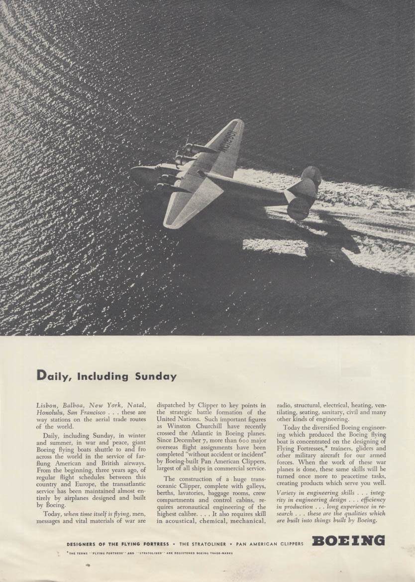 Daily, Including Sunday - Boeing 314 Clipper flying boat ad 1942 NY