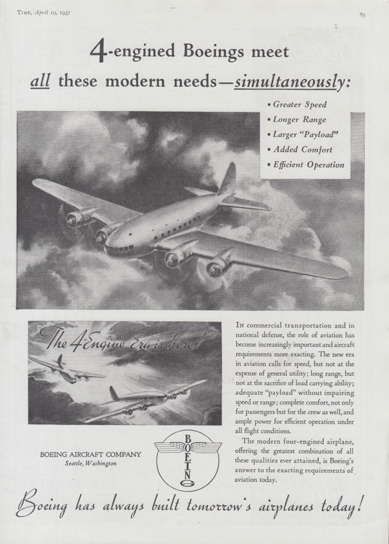 4-engined Boeings meet all modern needs simultaneously 307 Stratoliner ad 1937 T