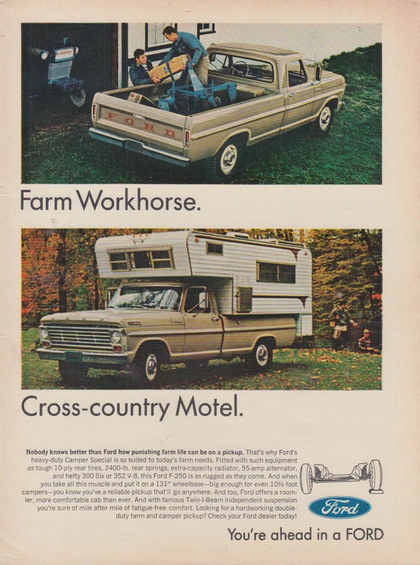 Farm Workhorse - Cross-country Motel - Ford F-250 Camper ad 1967