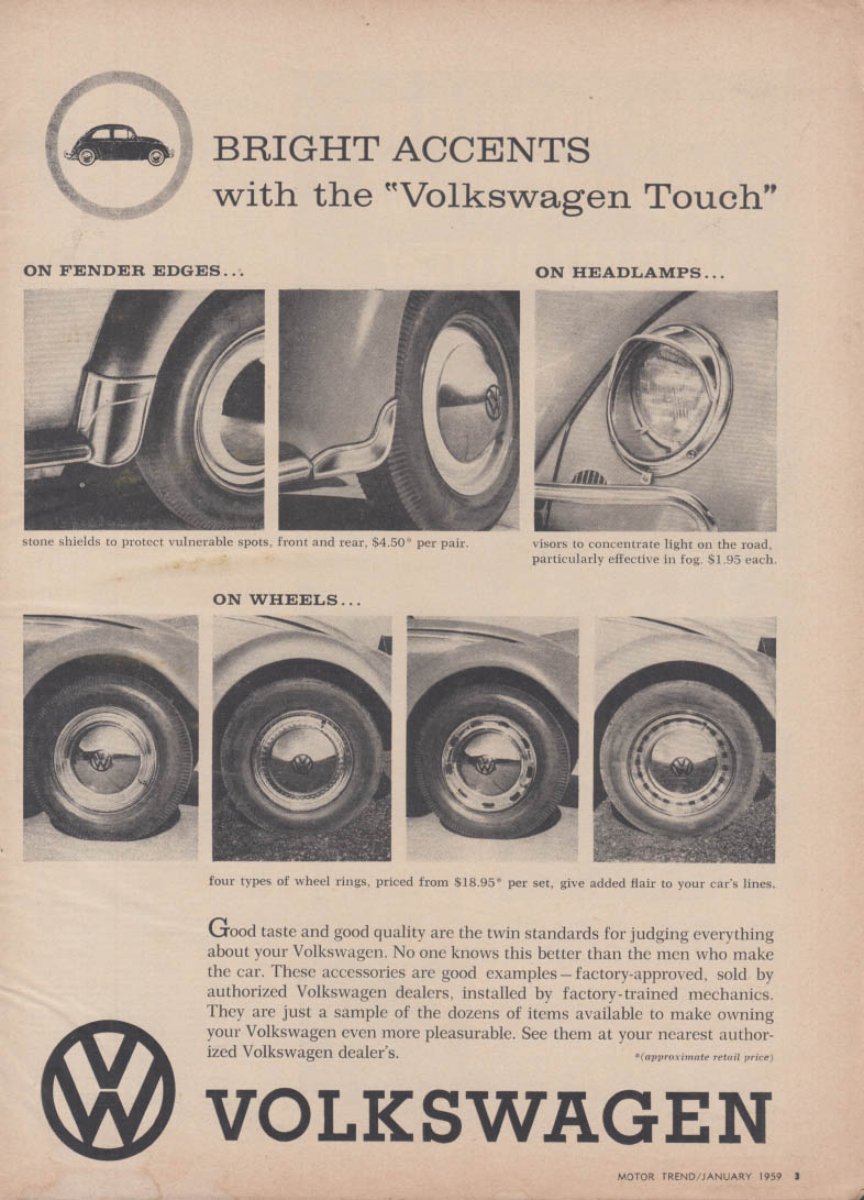 Bright accents with the Volkswagen touch ad1959