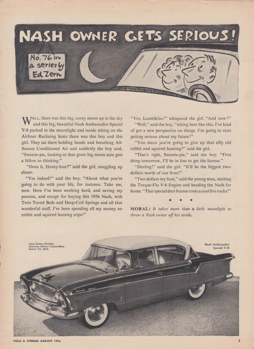 Nash Owner gets Serious! Ed Zern ad #76 Ambassador Special V-8 ad 1956