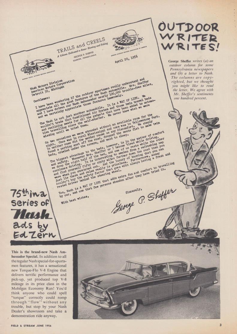 Outdoor Writer Writes! Ed Zern #75 Nash Ambassador V-8 ad 1956