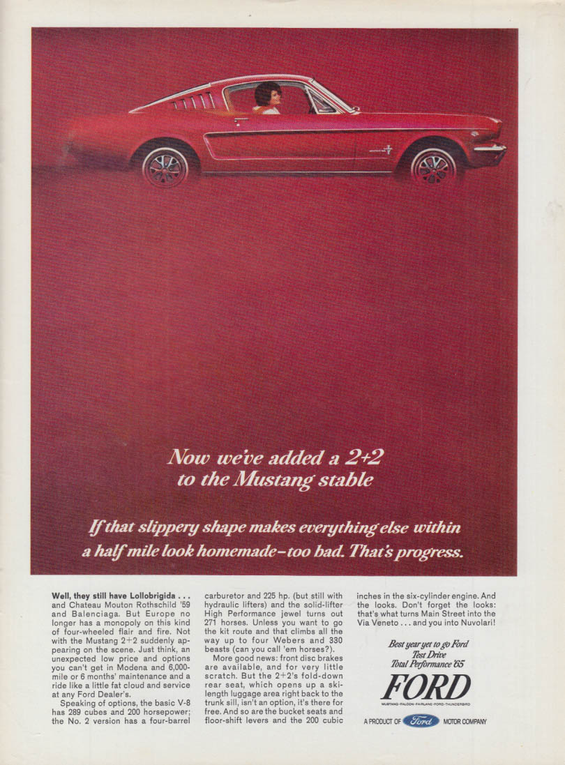 Image for Now we've added a 2+2 to the Mustang stable ad 1965 var