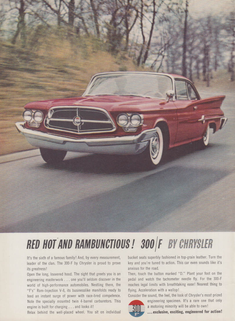 Image for Red Hot and Rambunctious! Chrysler 300-F ad 1960 var