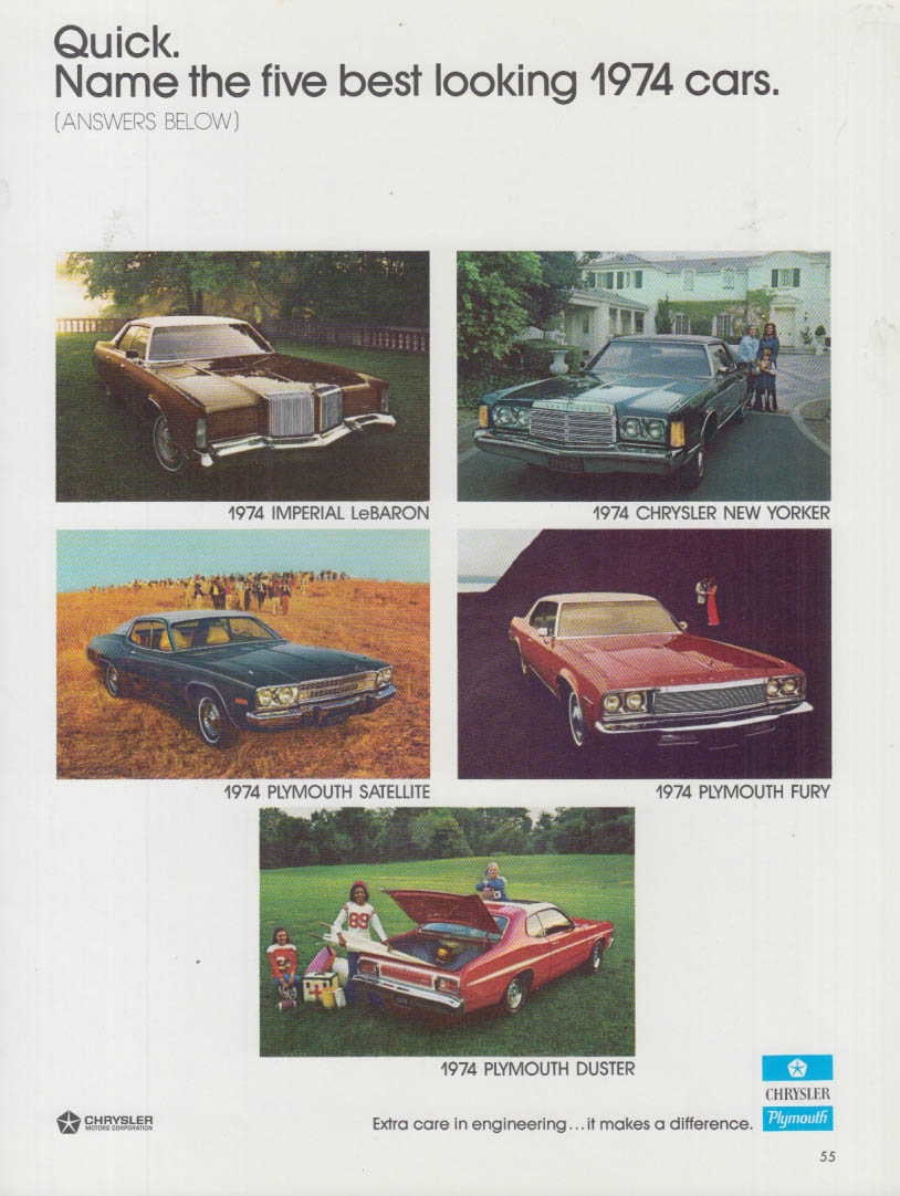 Image for Best looking cars: Imperial New Yorker Satellite Fury Duster Chrysler ad 1974