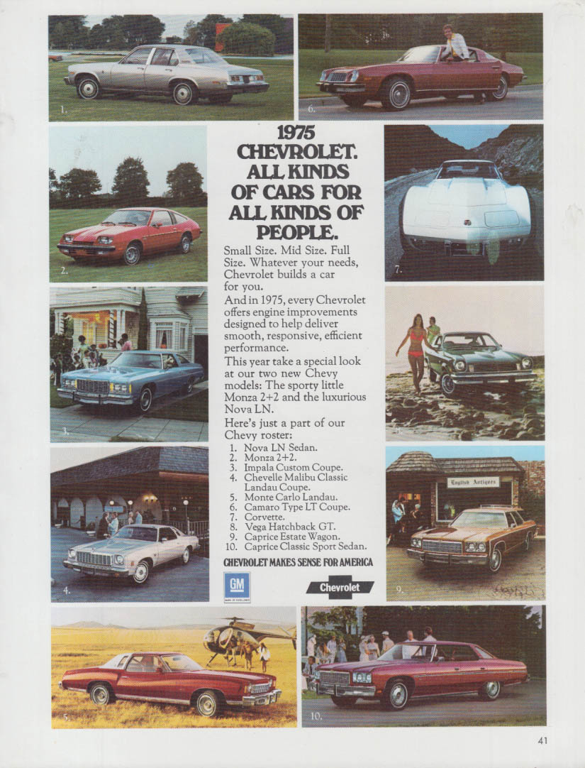All Kinds of Cars for All kinds of People Corvette Camaro Monte Carleo + ad 1975