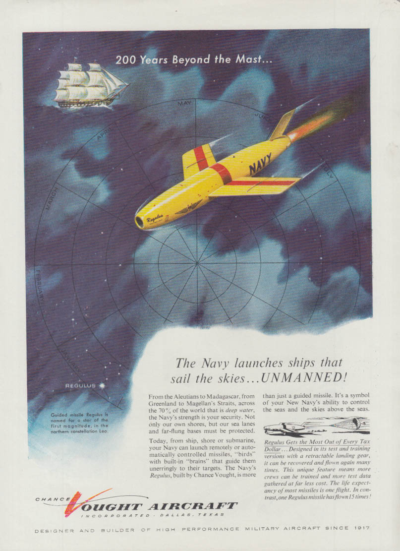 Navy launches ships to sail skies unmanned Chance Vought Regulus missile ad 1955