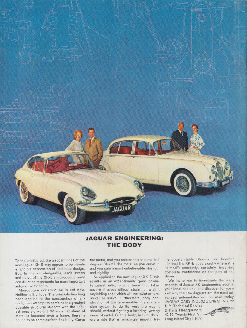 Jaguar Engineering: The Body - Jaguar XK-E & Sedan ad 1962