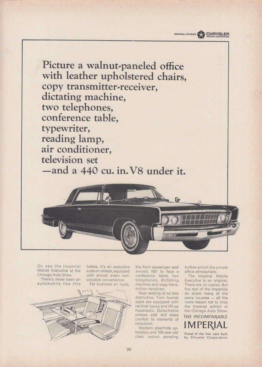Image for Picture a walnut-paneled office & a 440ci V-8 - Imperial by Chrysler ad 1966