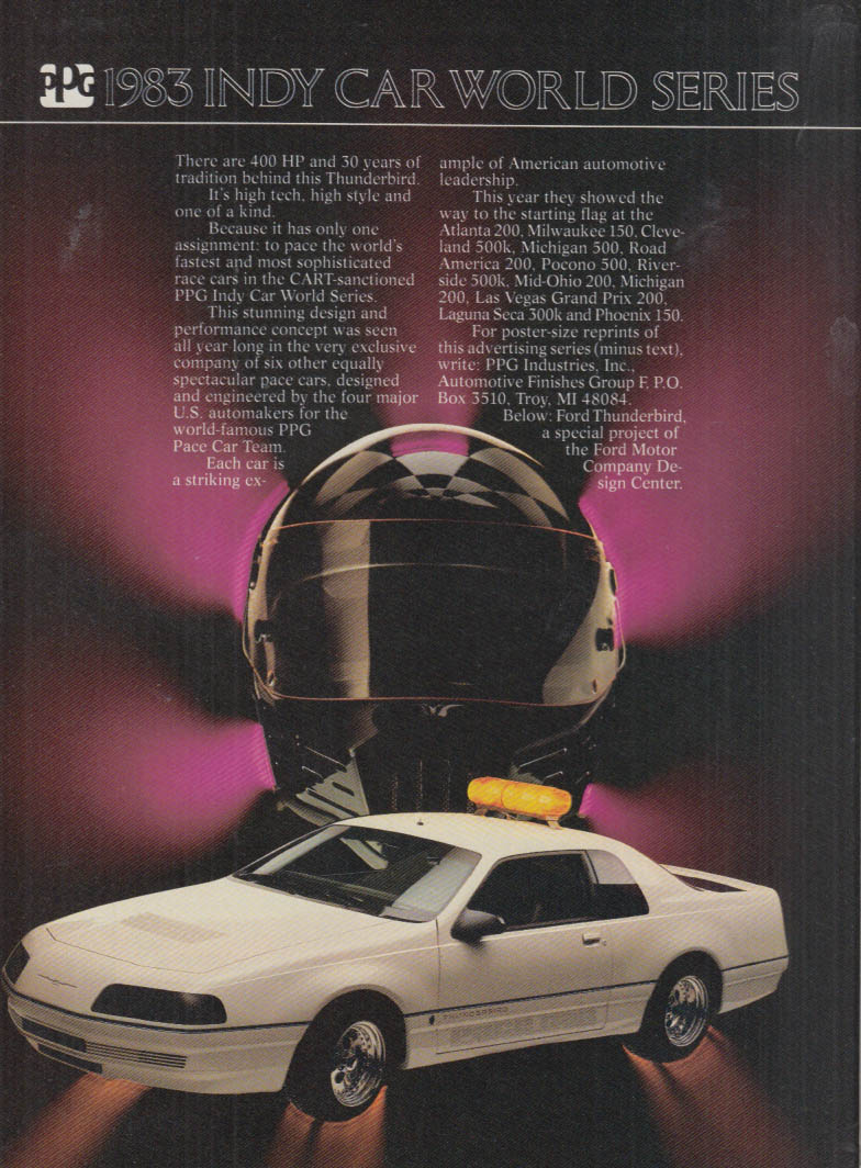 Image for PPG 1983 Indy Car World Series Thunderbird Pace Car ad 1983