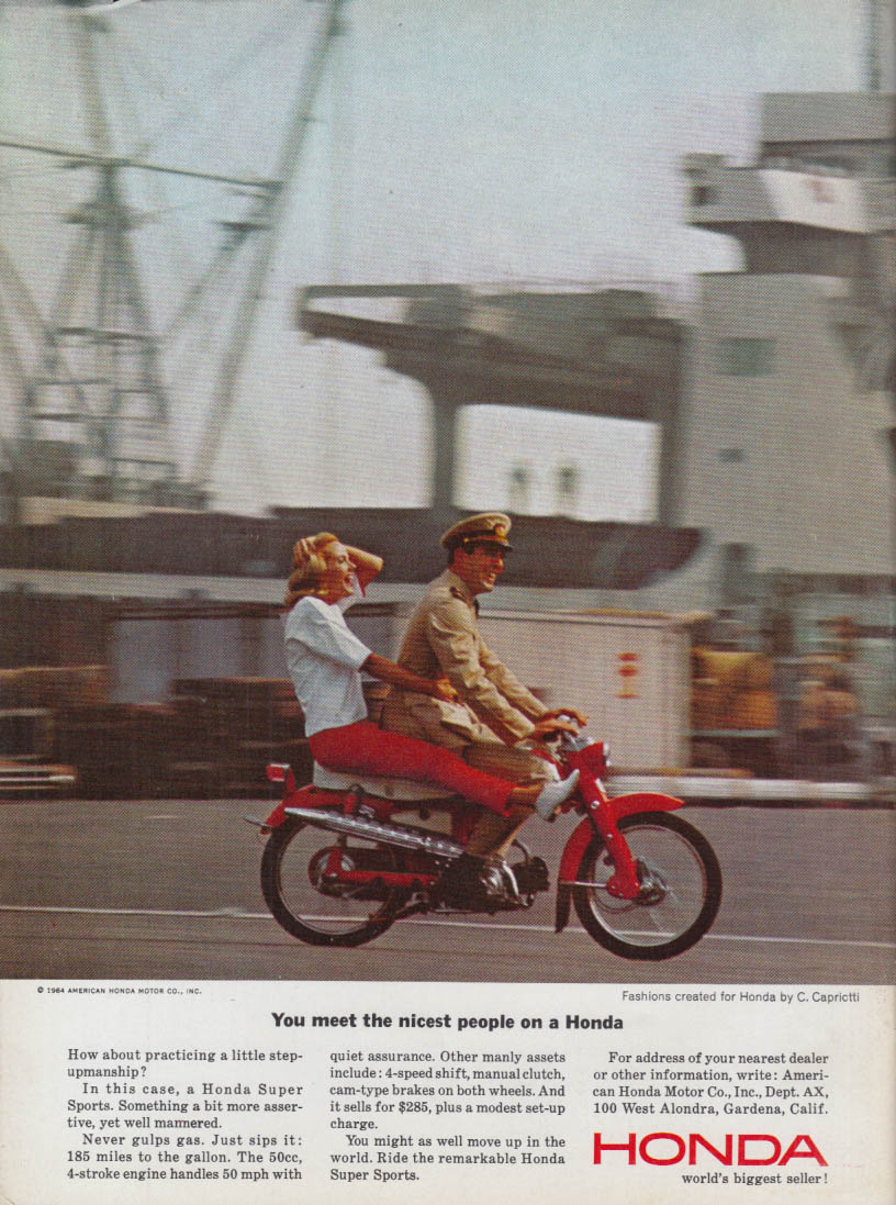Image for You meet the nicest people on a Honda 50 ad 1964 Navy boatyard scene