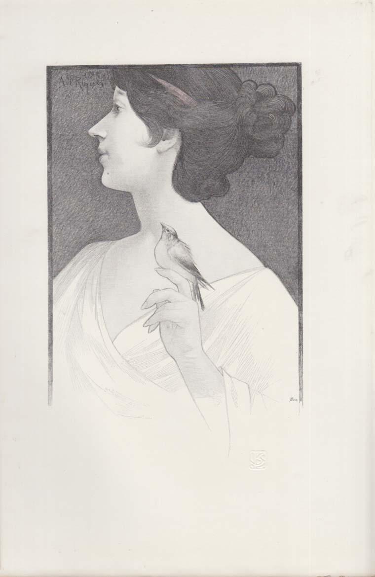 A Study by A De Riquier print: girl with bird International Studio 5 1900
