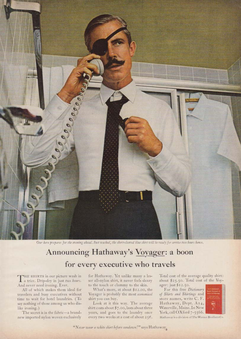 Announcing Hathaway's Voyager - a boon to executives who travel ad 1966