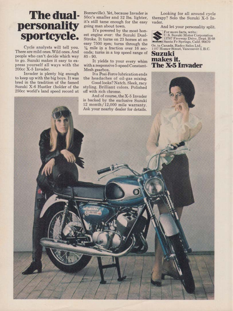 Image for The dual-personality sportcycle - Suzuki X-5 Invader motorcycle ad 1968