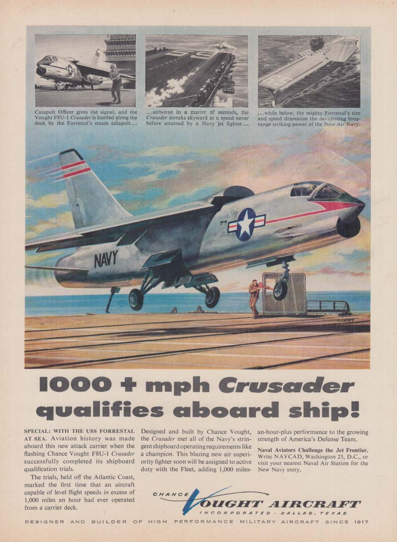 1000+ MPH Chance Vought Crusader qualified aboard ship ad 1956 T