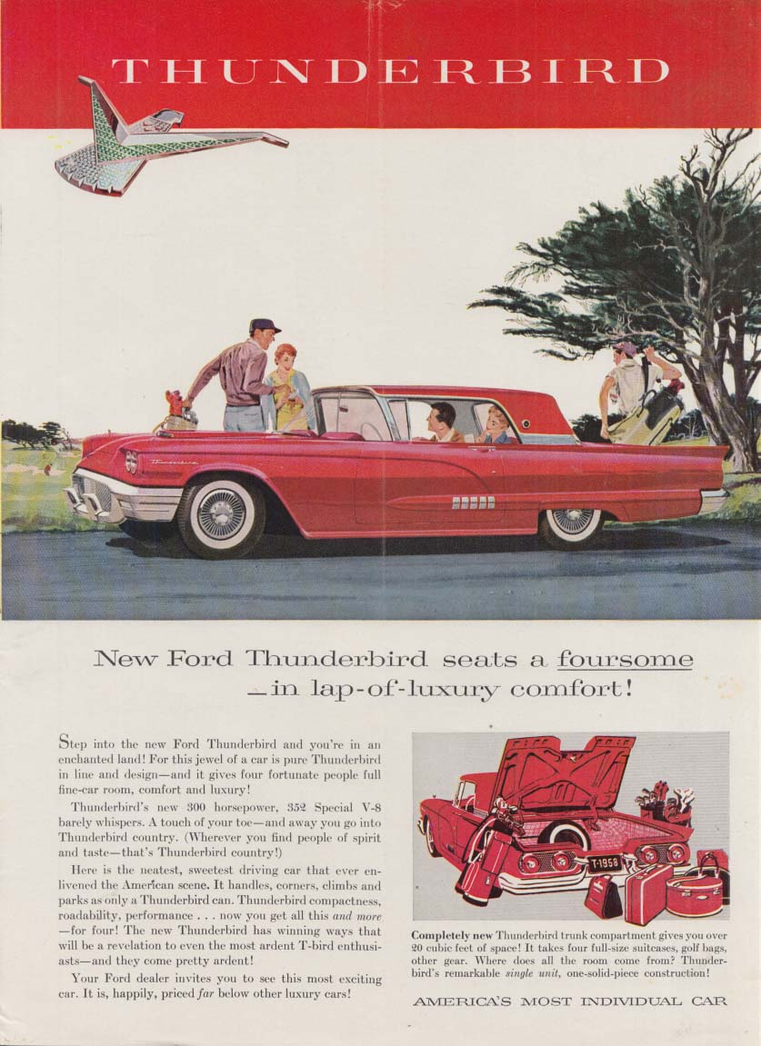 Image for New Ford Thunderbird seats a foursome in lap-of-luxury comfort ad 1958 NY