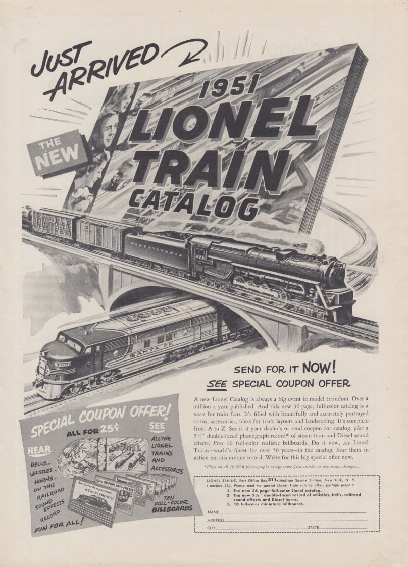Just Arrived: New 1951 Lionel Electric Trains Catalog MAGAZINE ad 1951