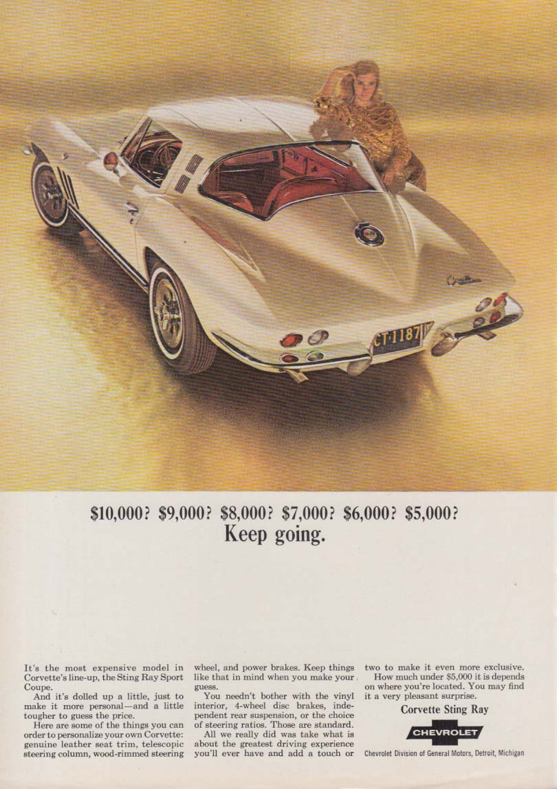 $10,000? $9,000? $8,000? $7,000? $6,000? $5,000 Keep going Corvette ad 1965 NY