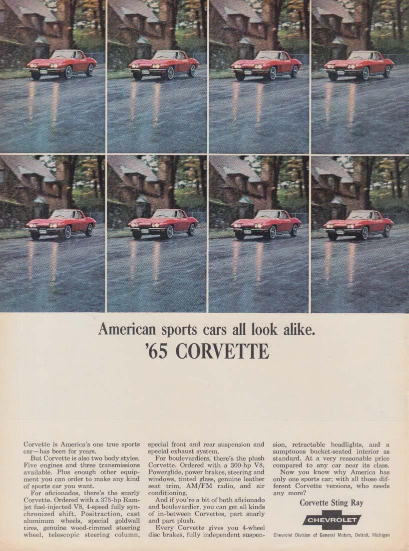 American sports cars all look alike. Corvette ad 1965 SI