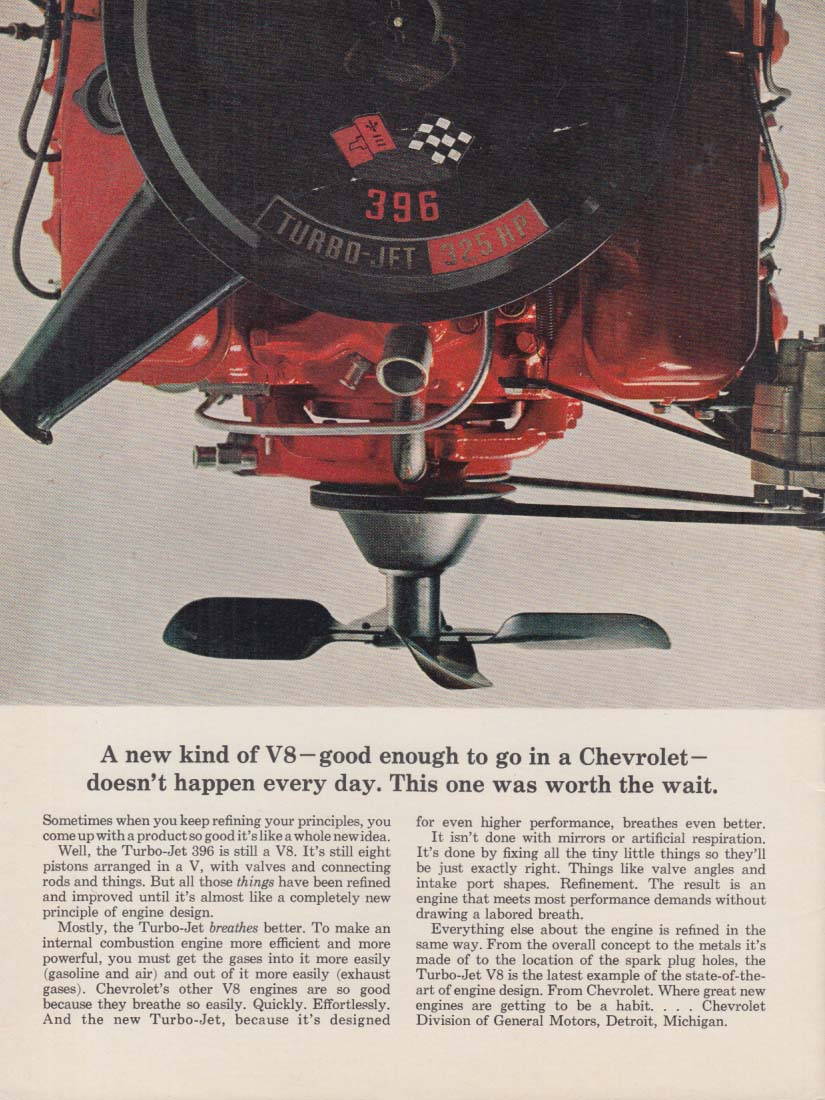 A new kind of V-8 good enough for Chevrolet - Turbo-Jet 396 ad 1965 CF