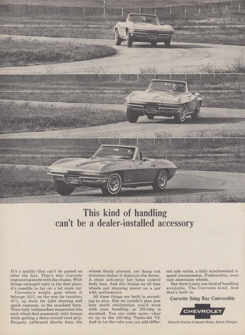This kind of handling can't be a dealer-installed accessory Corvette ad 1965